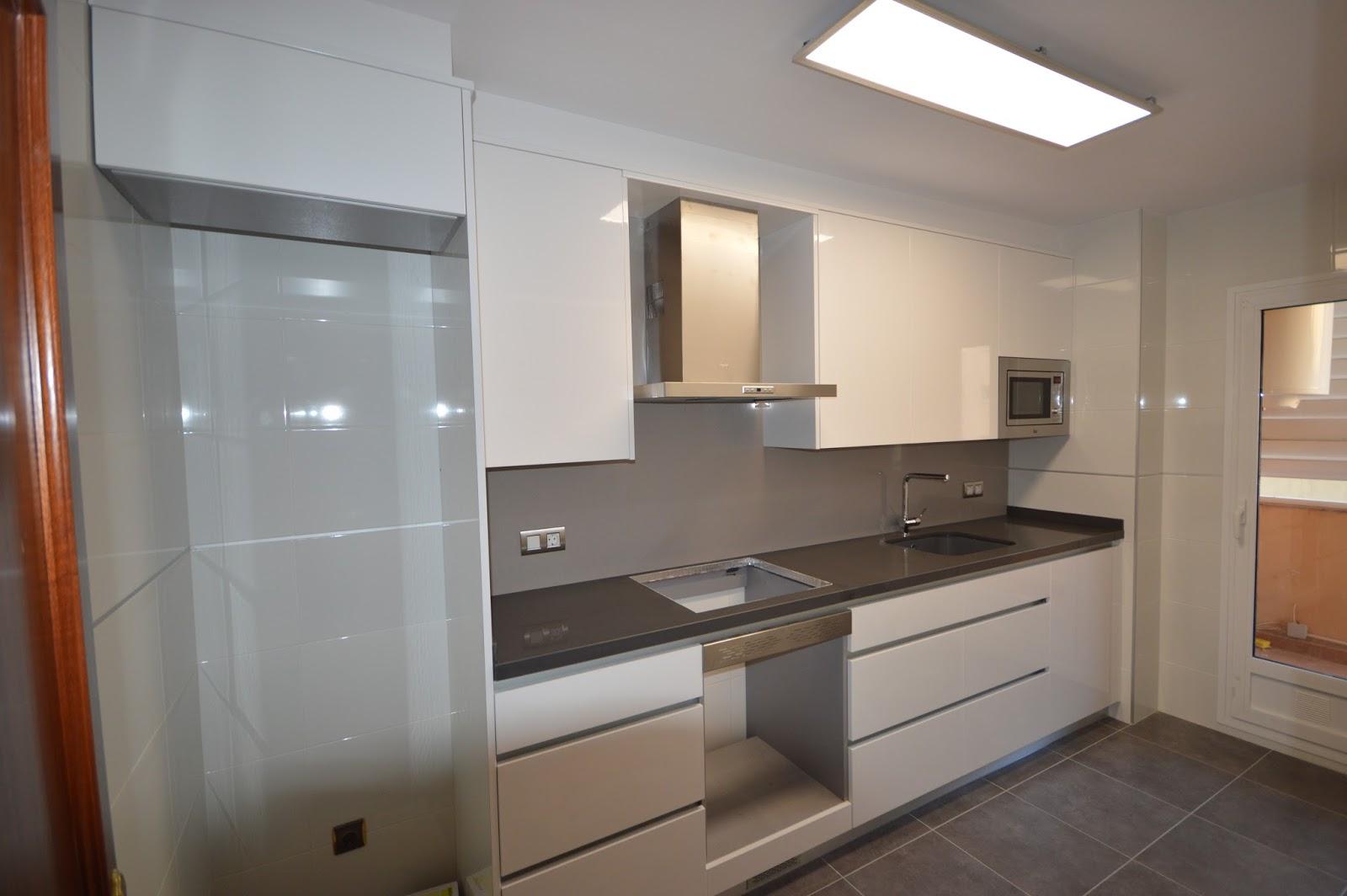 reuscuina muebles de cocina en blanco brillo sin tiradores