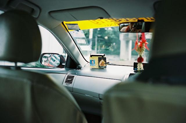 Color film Photography Bangkok of taxi interior