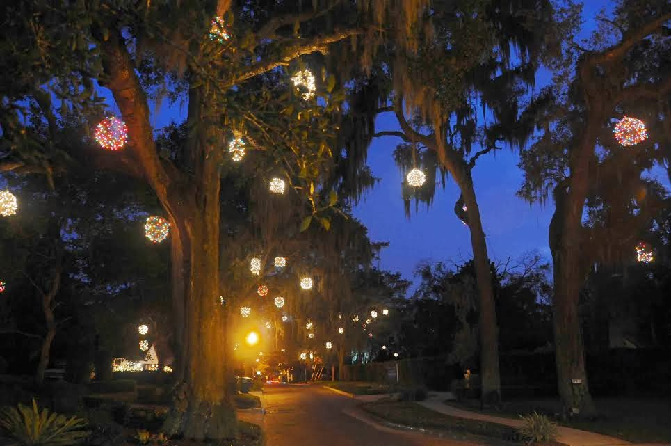 Lighted Christmas Balls: Winter Park Florida SHINING BRIGHT