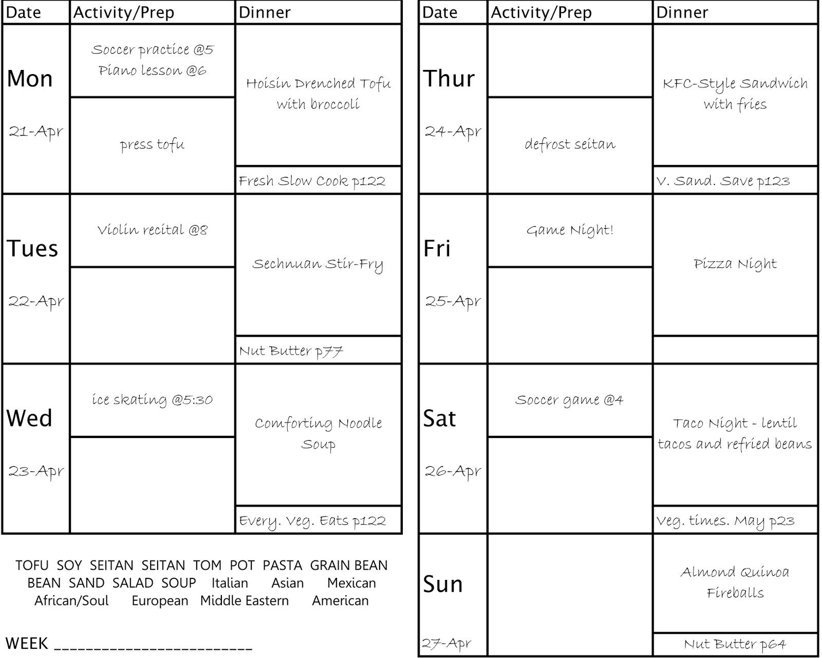 menu planning template – Menu Planning Template