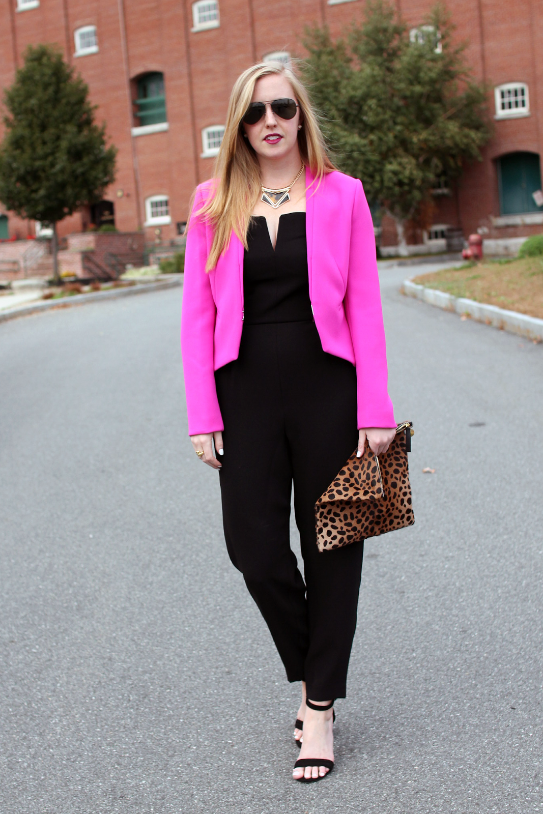 Topshop Plunge Bandeau Jumpsuit, DVF Pink Blazer, Black Jumpsuit, Boston Blogger, Boston Style Blogger, Boston Fashion Blogger, Rehearsal Dinner Jumpsuit