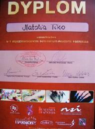 Dyplom za udział w V Międzynarodowym Seminarium Akadamii Paznokcia