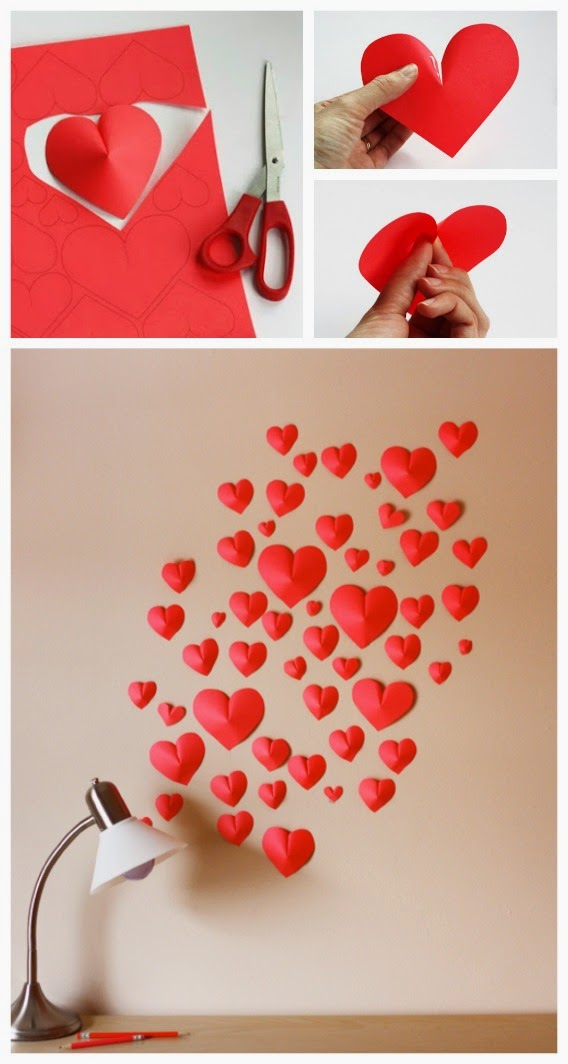 pared de corazones de papel