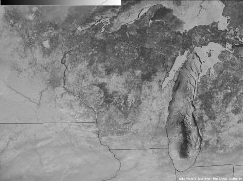 Lake Michigan satellite photo with ice