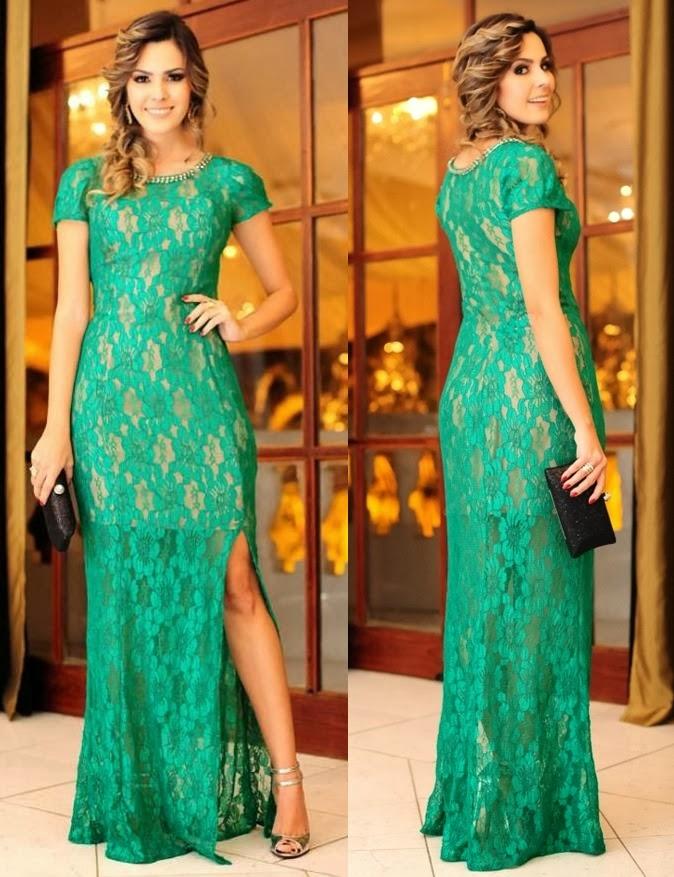 Vestidos longos de festa na cor verde