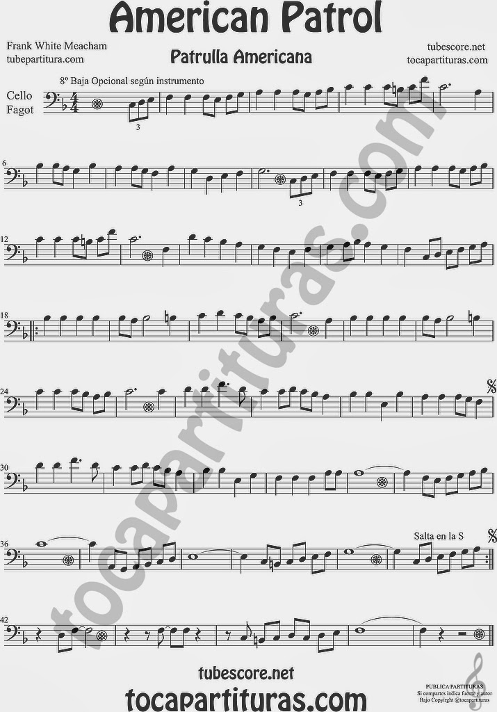 American Patrol Partitura de Violonchelo y Fagot Sheet Music for Cello and Bassoon Music Scores
