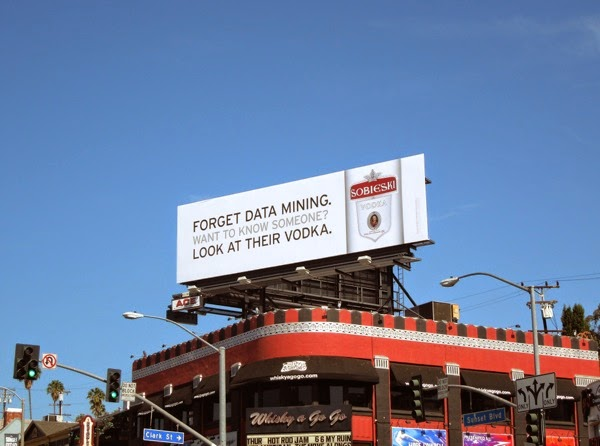 Sobieski Vodka data mining billboard Sunset Strip