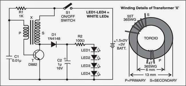 simple led torch circuit diagram