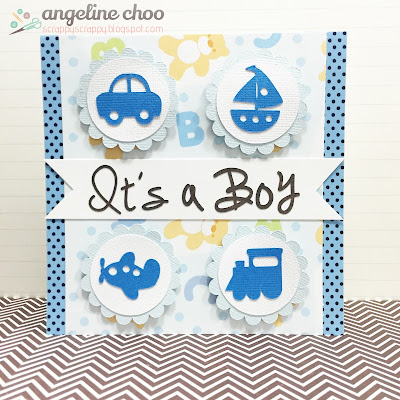 SVG Attic: Baby Boy Card with Angeline #svgattic #scrappyscrappy #babyboy #card #svg #cutfile