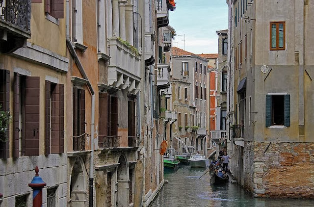 Gondolas On Backstreet Canal