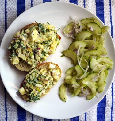 cucumber shallot vinaigrette salad with egg salad sandwiches