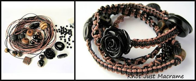 Materials and finished micro macrame wrap bracelet in nylon and hemp cord