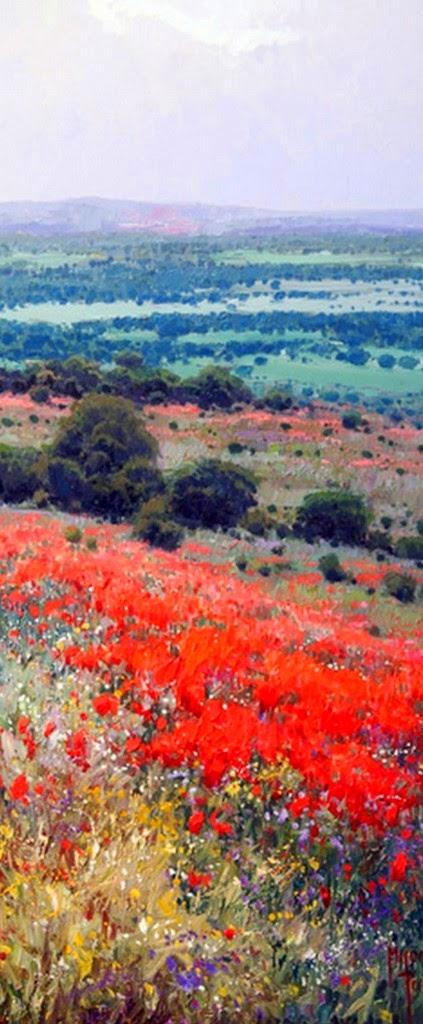 Cuadros modernos pinturas y dibujos paisajes verticales pintados al leo - Cuadros verticales modernos ...