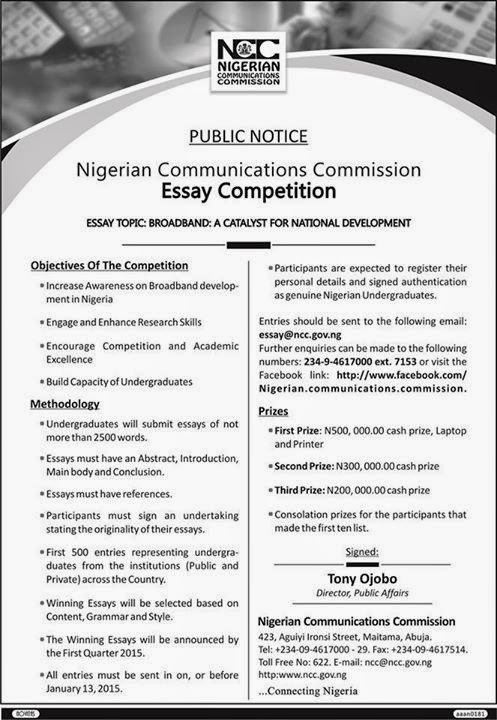 ncc essay competition for undergraduate students study   ian communications commission ncc essay competition