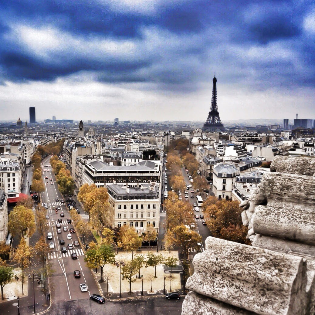 view of the eiffel tower from the Arc de triomphe paris