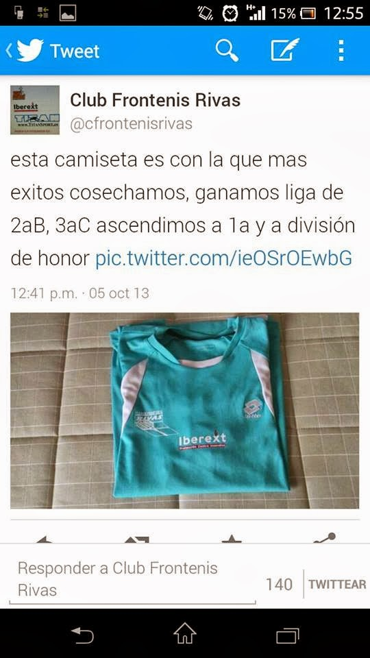 Camiseta de mas exito historia club frontenis Rivas
