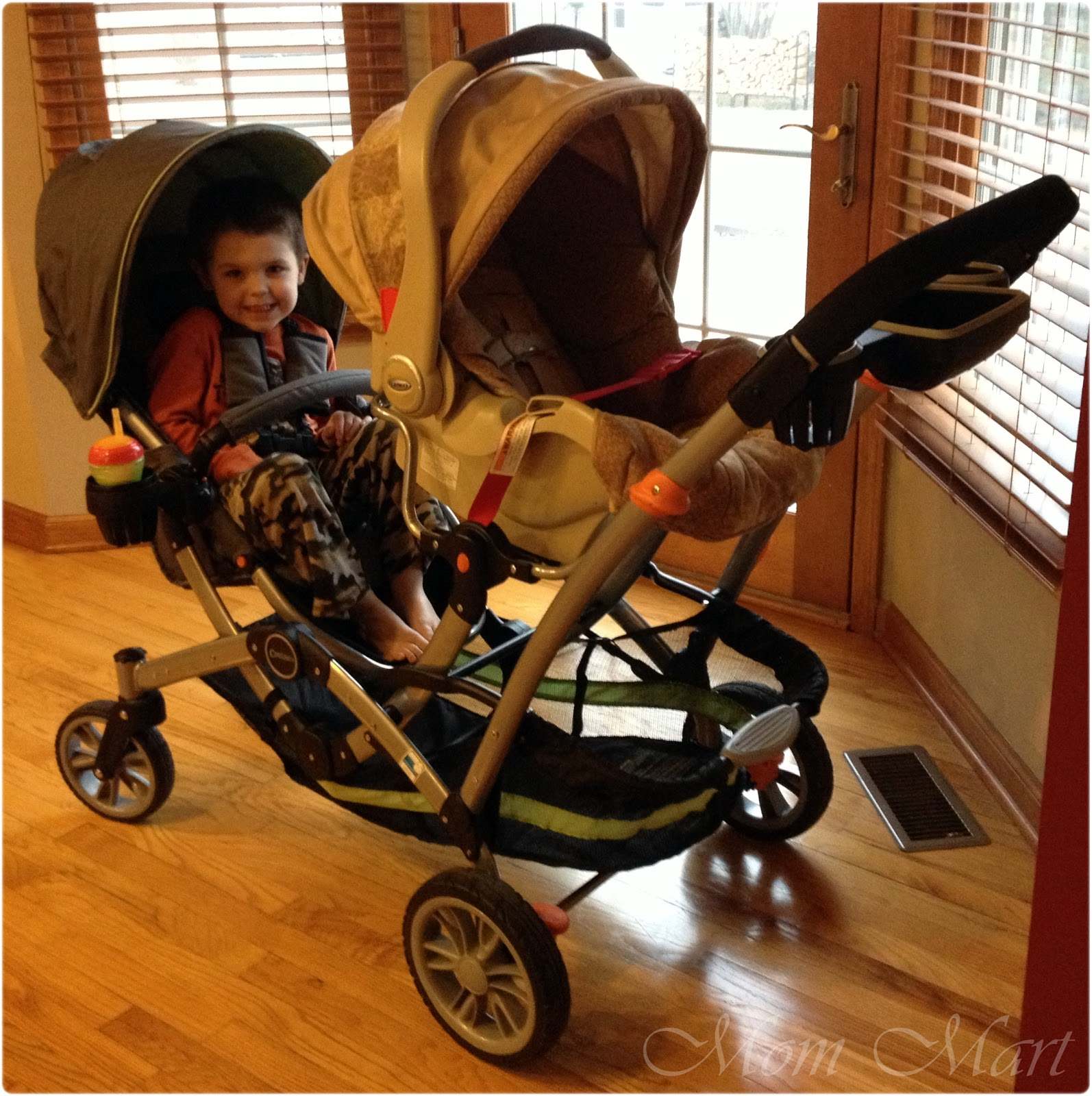 Double Stroller with Infant Car Seat