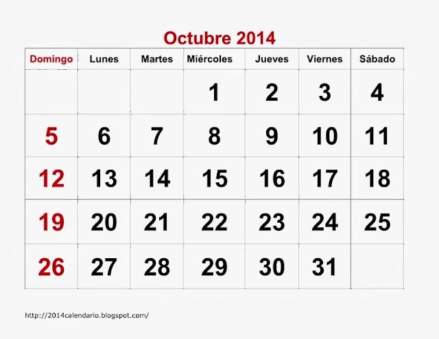 Calendario Octubre 2014 Imprimir Octubre 2014 Para Imprimir