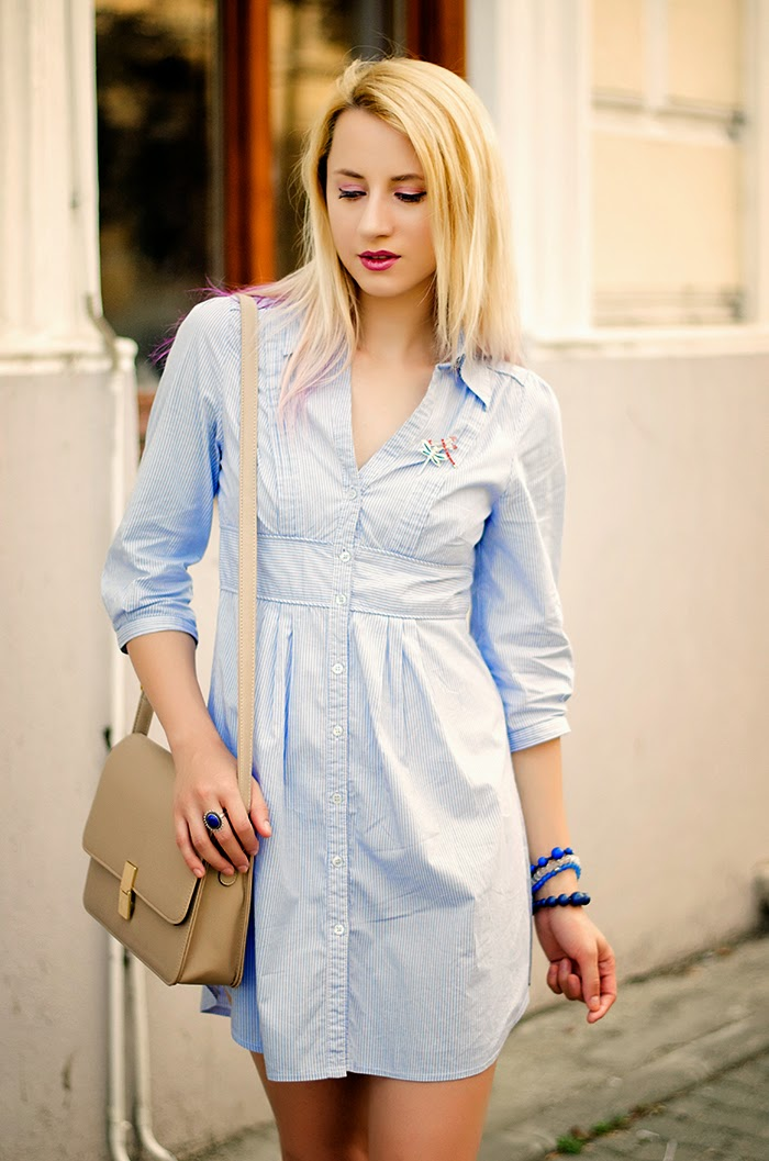 H&M blue shirt dress dragonfly brooch
