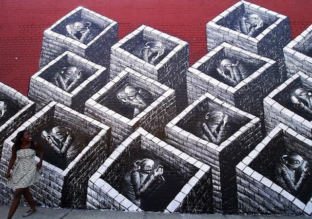 Street Art By British Artist Phlegm In New York City, USA. 4