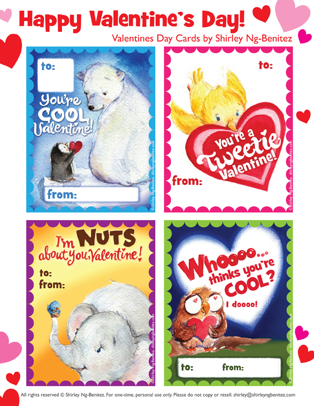 We Love to Illustrate FREE Printable Valentines Day Cards For Kids – Free Valentine Printable Cards