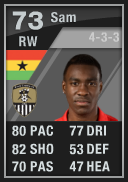 Lloyd Sam (IF1) 73 - FIFA 12 Ultimate Team Card