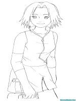 Halaman Mewarnai Gambar Sakura Naruto Shippuden