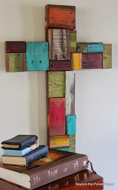 cross, reclaimed wood, patchwork, paint, Easter, Beyond The Picket Fence, http://bec4-beyondthepicketfence.blogspot.com/2015/02/spring-ideas-are-you-ready.html