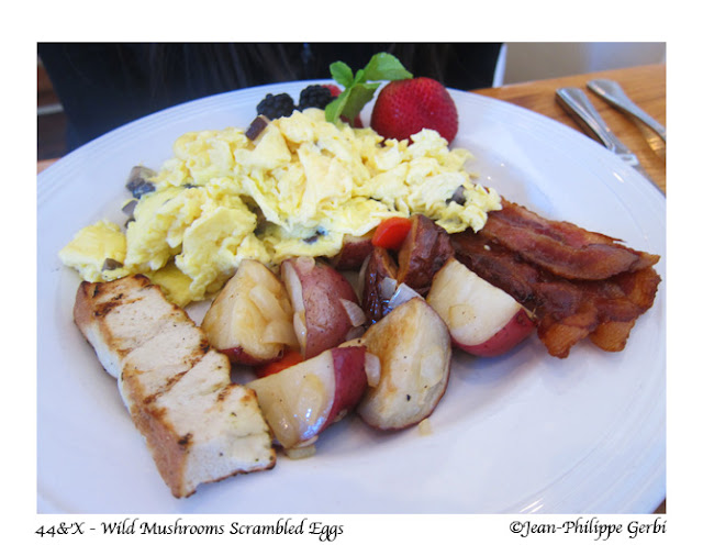 Wild mushroom scrambled eggs at 44 and X in NYC, New York