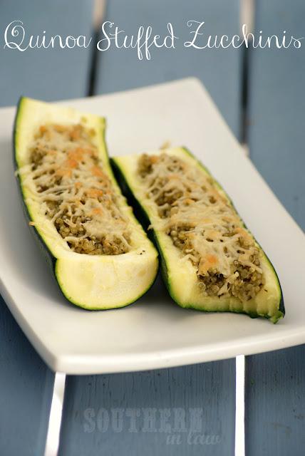 Pesto Quinoa Stuffed Zucchini Boats with Parmesan Cheese - Gluten Free Healthy