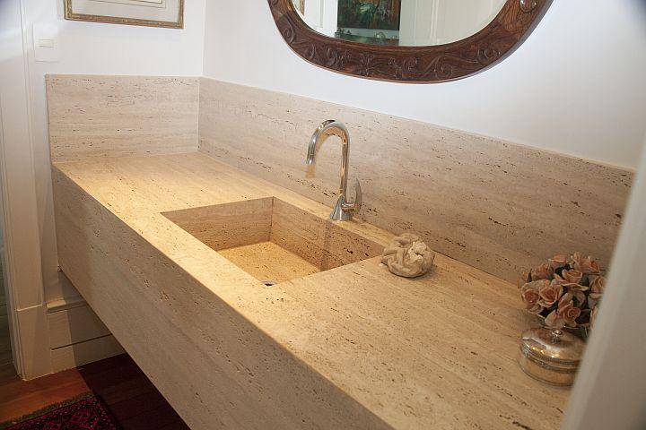 A Casa da Sheila Tons de granito e mármore -> Pia De Marmore Travertino Para Banheiro