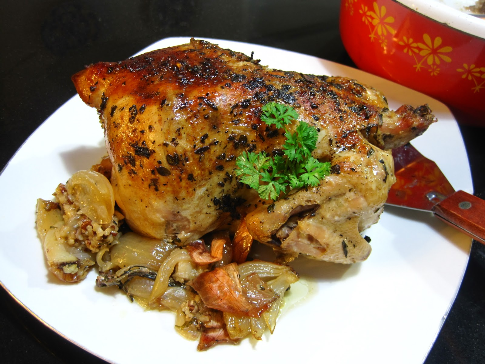 The Blue Cottage: Herb Roasted Chicken Stuffed with Red and Brown Rice