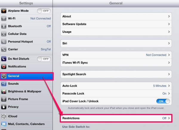 Turn of Restrictions on the iPad
