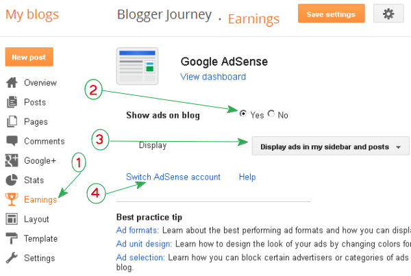 (screenshot) Enable Adsense on Blogger