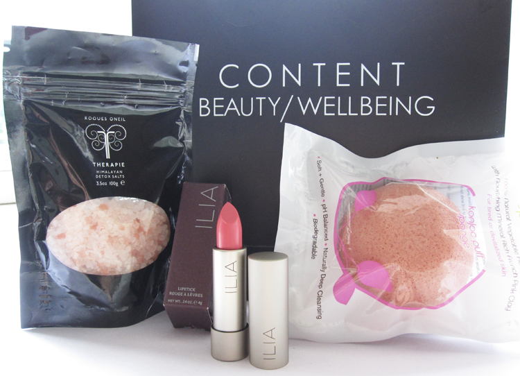 A picture of Content Beauty & Wellbeing Haul with Therapie Himalayan Detox Salts, Ilia lipstick In My Room and Konjac Sponge Pink French clay