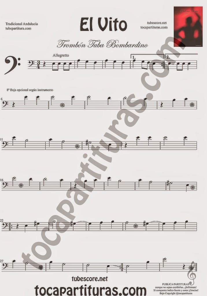 El Vito Partitura de Trombón, Tuba Elicón y Bombardino Sheet Music for Trombone, Tube, Euphonium Music Scores