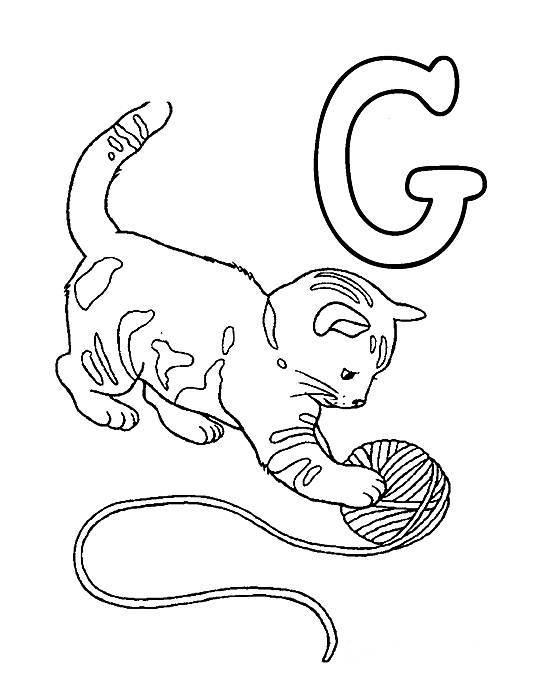 Desenhos Preto e Branco letras do alfabeto letra G Colorir