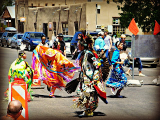 Native American dancers perform during Founder's Day in Albuquerque's Old Town