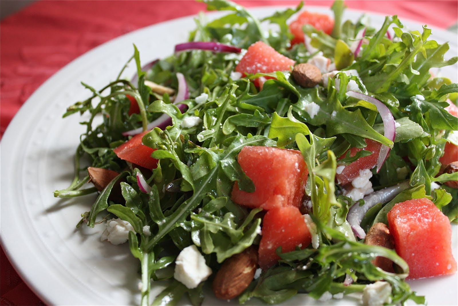 Watermelon Arugula Salad with Almonds, Feta, and Red Onion - Get Off ...