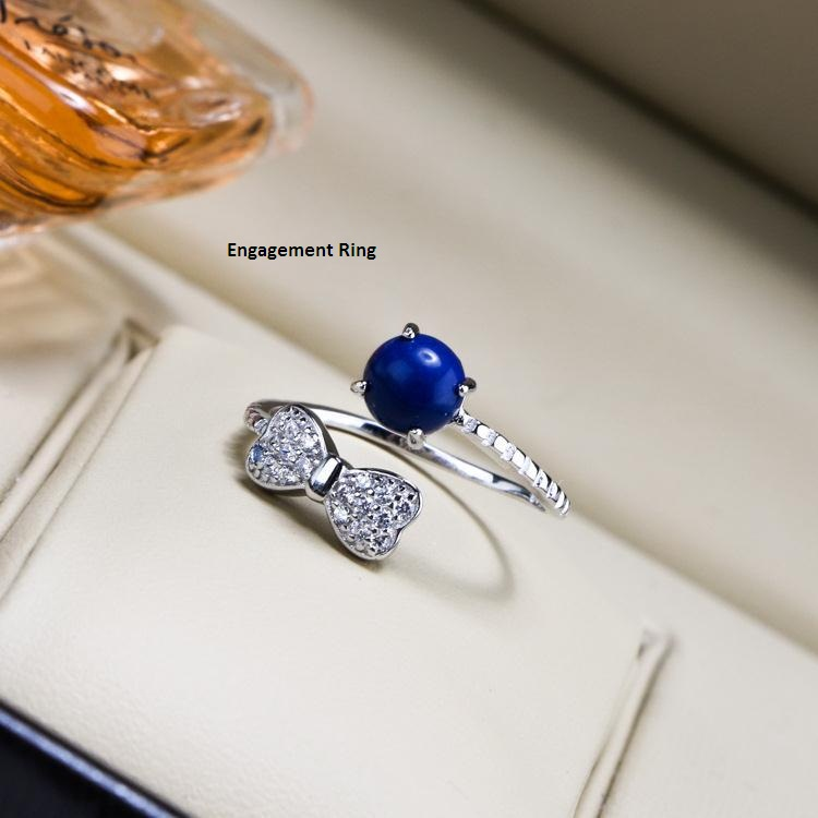 Engagement Ring Cape Verde Lapis Lazuli Diamond Men Women