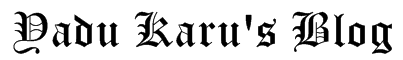 Yadu Karu's Blog