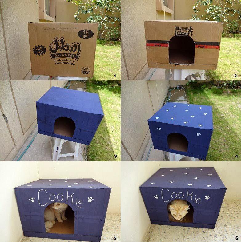 Домик для котят из коробки своими руками фото 11