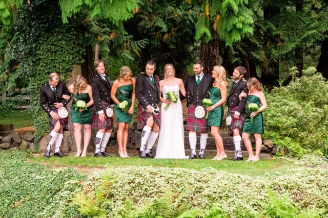 Adam & groomsmen show off their knees and their kilts - Kent Buttars, Seattle Wedding Officiant