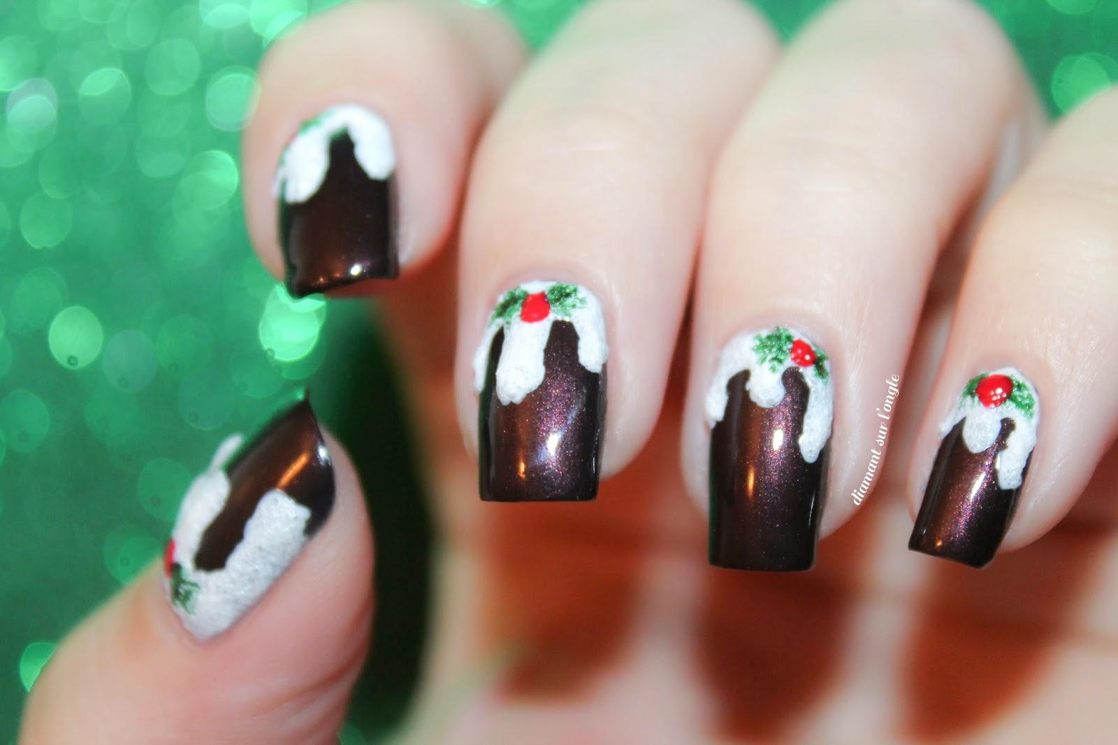 Christmas Pudding Nail Art