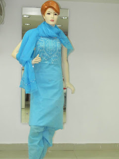Lucknowi Chikan Blue Cotton Dress Material