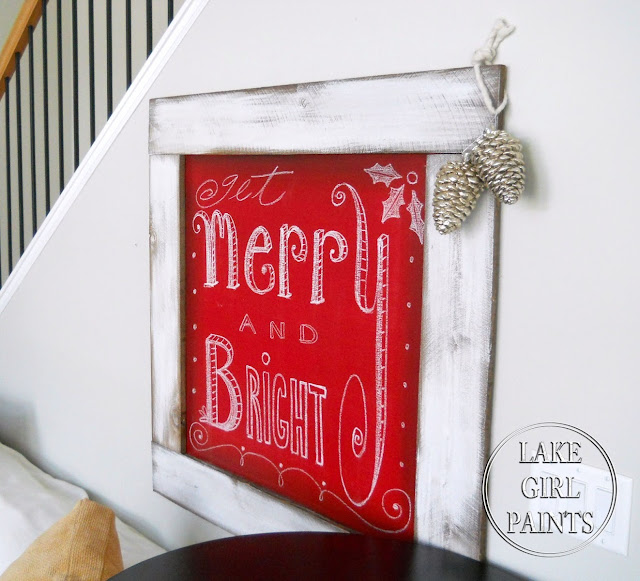 Gorgeous red homemade chalkboard wall hanging by Lake Girl Paints featured on I Love That Junk