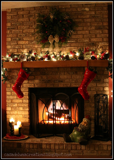 brick fireplace mantel christmas decorating ideas - Fireplace Mantel Christmas Decor