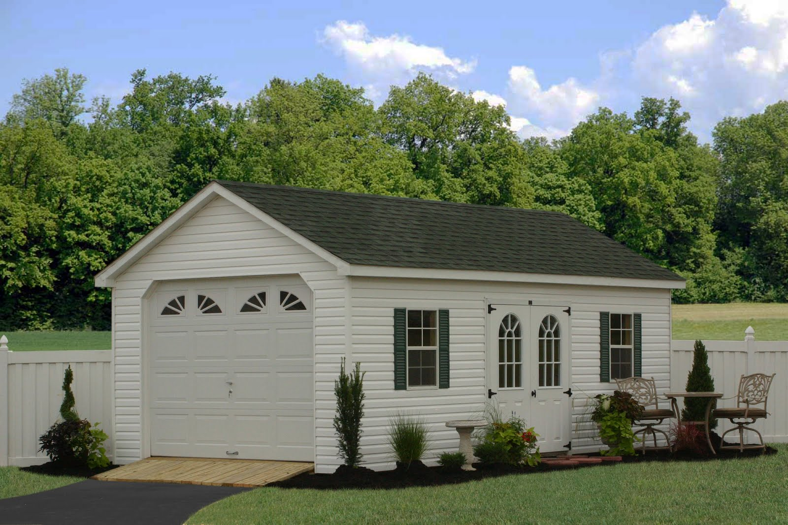 Carriage shed garage plans graceland storage shed shed for Single car garage plans