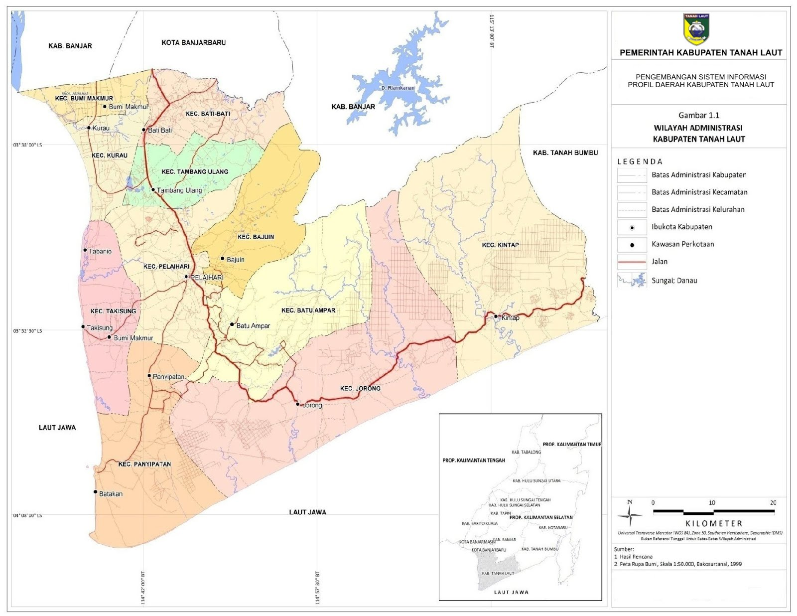 Peta Kabupaten Tanah Laut
