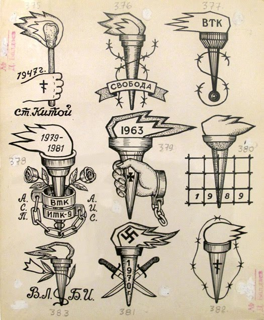 Apparently there is not so much text in the book mostly for Russian criminal tattoo meanings